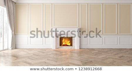 empty living room with fire place stock photo © pixxart