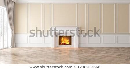 スタイリッシュ · リビングルーム · 暖炉 · ソファ · カップル · 現代 - ストックフォト © pixxart