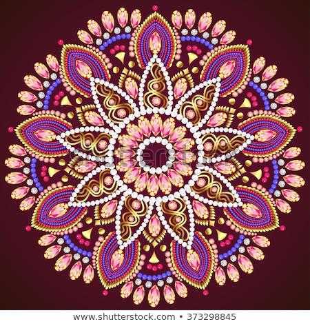 золото цветы драгоценный камней иллюстрация цветок Сток-фото © yurkina