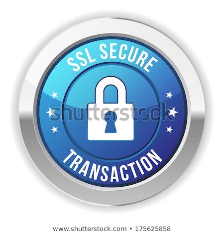 Biztonságos tranzakció kék vektor ikon terv Stock fotó © rizwanali3d