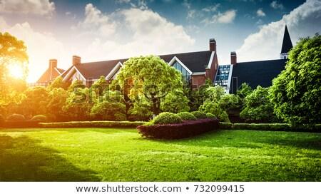 casa · jardín · vista · moderna · cemento · cielo - foto stock © alexandre_zveiger