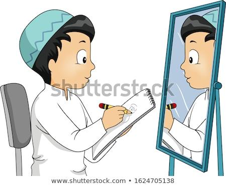 little boy draws a drawing stock photo © klinker