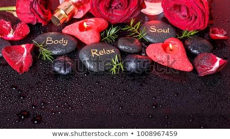 fekete · kő · felirat · harmónia · absztrakt · kő - stock fotó © zerbor