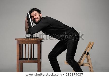 面白い · オタク · 男 · 座って · 男 - ストックフォト © master1305