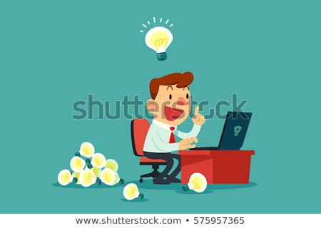 üzletember · siker · dolgozik · laptop · pop · art · retró · stílus - stock fotó © morphart