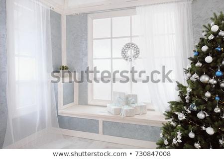 Beautiful bright Christmas gifts on windowsill Stock photo © dashapetrenko