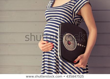 Stok fotoğraf: Hamile · kadın · genç · yeni · anne · mutlu · ev