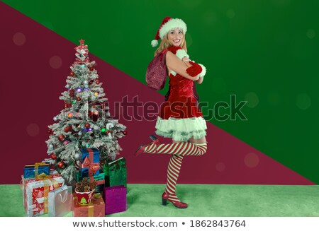 two women in red santa claus dresses with attractive legs stock photo © deandrobot