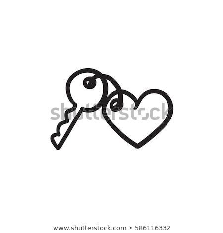 coração · chave · vermelho · buraco · de · fechadura · dourado · dentro - foto stock © danilin