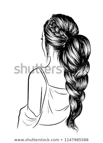 güzel · genç · kadın · uzun · saç · portre · resim - stok fotoğraf © aikon