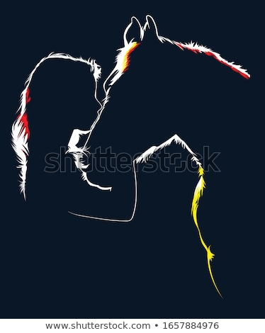 girl with horse.outdoor Stock photo © fanfo