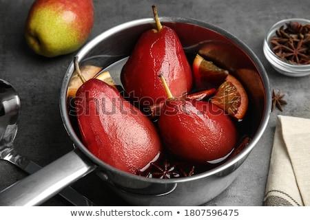 körték · bor · desszert · édes · főtt · vörösbor - stock fotó © hansgeel