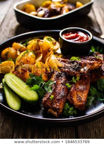borda · krumpli · marhahús · sült · étel · hús - stock fotó © digifoodstock