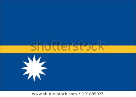 Zászló Nauru illusztráció fehér felirat hullámok Stock fotó © Lom