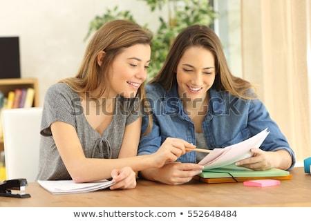 Dwa studentów praca domowa ilustracja dziewczyna dzieci Zdjęcia stock © bluering