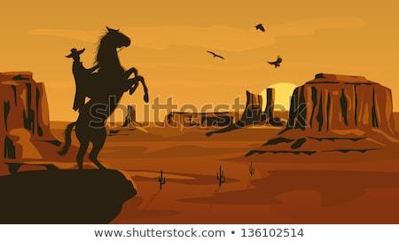гриф кактус иллюстрация пустыне крыльями Cute Сток-фото © adrenalina