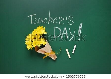 Iskola tábla szó jókedv fa asztal iroda Stock fotó © fuzzbones0