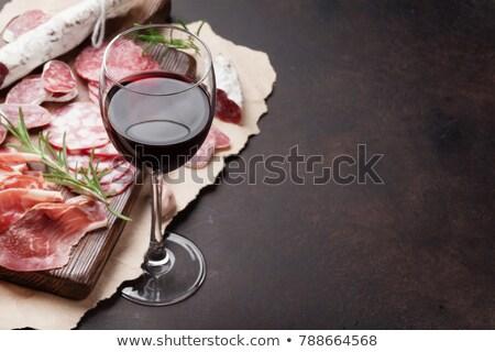Vinho salsicha salame queijo jantar uva Foto stock © M-studio