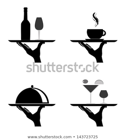vector black and white  catering icon of waiter's hand holding t Stock photo © freesoulproduction