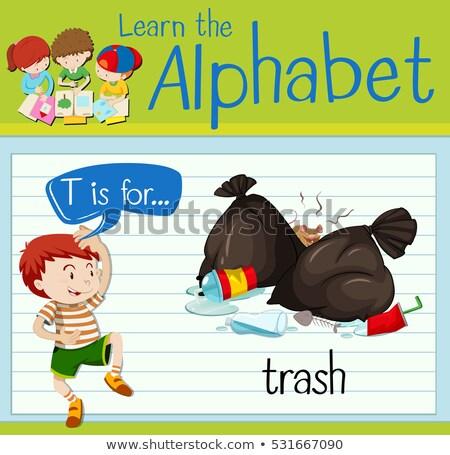 Prullenbak illustratie kinderen kind achtergrond Stockfoto © bluering