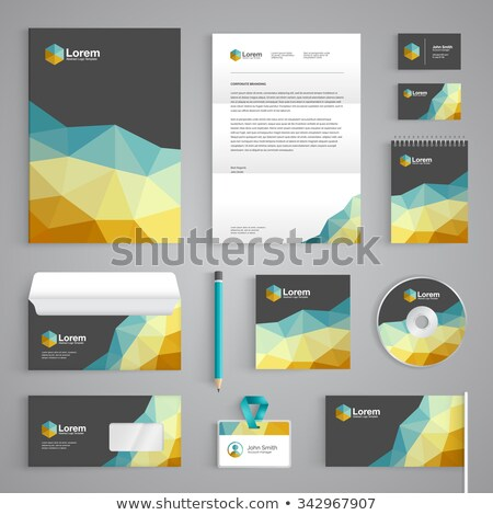 low poly business stationary set stock photo © SArts