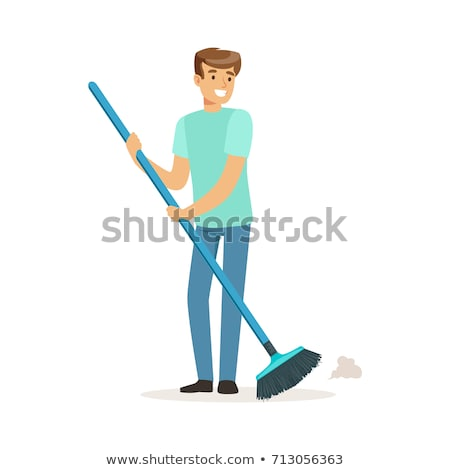Male cleaner sweeping floor Stock photo © bluering