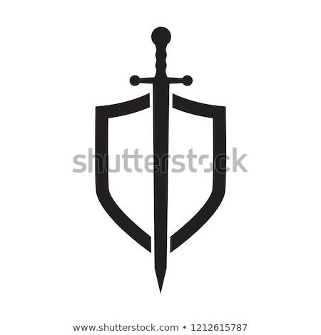 segurança · escudo · guerreiro · escuro · metal - foto stock © sharpner