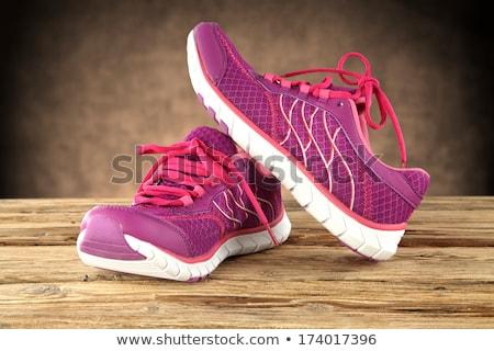 pernas · vermelho · sapatos · madeira · mulher · lona - foto stock © dawesign