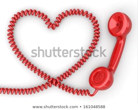 старые телефон шнура связи красный сердце Сток-фото © CaptureLight