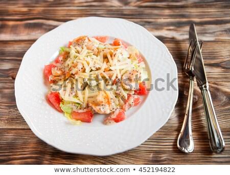 ízletes grapefruit saláta díszített sajt felső Stock fotó © Yatsenko