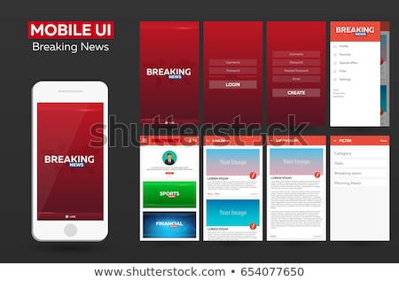 Mobile app Breaking News Material Design UI, UX, GUI. Responsive website. Stock photo © Leo_Edition