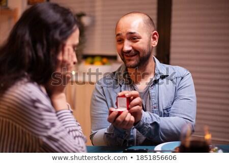 Jonge kaukasisch verloofde lachend witte jurk handen Stockfoto © RAStudio