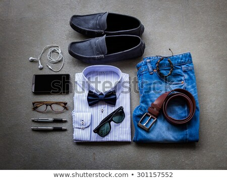Still life of casual man. Modern male accessories on black Stock photo © master1305