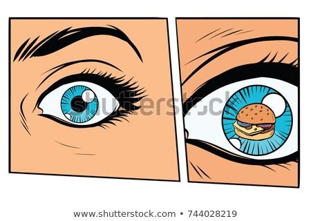 Cômico faminto mulher burger desenho animado estilo Foto stock © rogistok