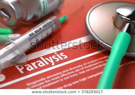 Impresso diagnóstico laranja turva texto pílulas Foto stock © tashatuvango