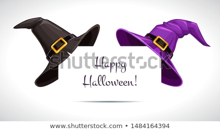 Sombrero de la bruja papel esquina halloween púrpura cinta Foto stock © timurock