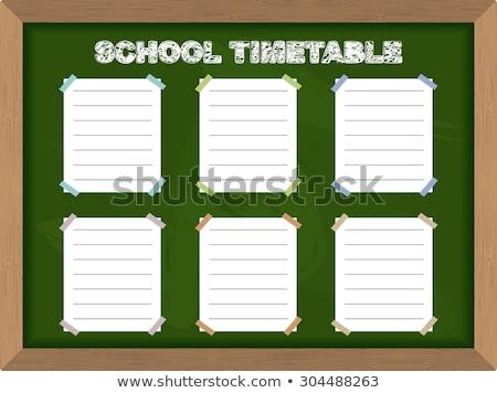 Idő szervez tábla kézzel rajzolt szöveg kék Stock fotó © tashatuvango