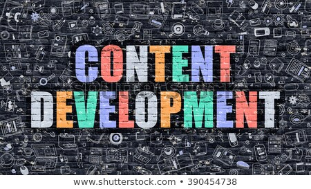 Web içerik gelişme karanlık tuğla duvar karalama Stok fotoğraf © tashatuvango