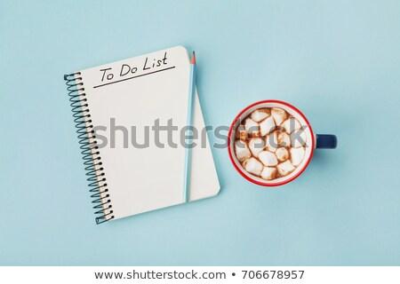 hot chocolate and notebook stock photo © yuliyagontar