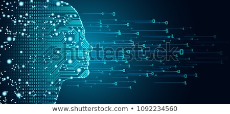 cyber technology concept design with digital face and network di Stock photo © SArts