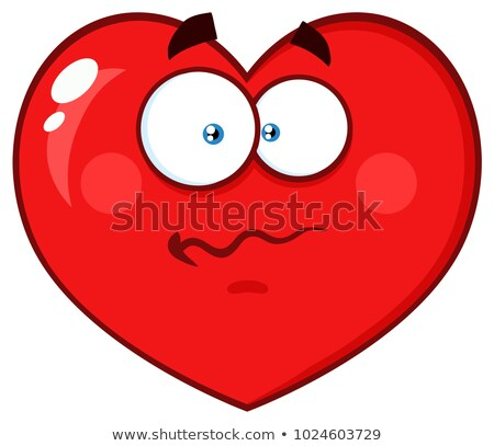 Worried Red Heart Cartoon Emoji Face Character With Confused Expression Stock photo © hittoon
