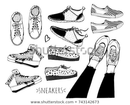 Kézzel rajzolt sportcipők piros kék sportok fehér Stock fotó © frescomovie
