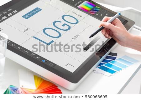 Ferramenta oficina design de logotipo serra martelo negócio Foto stock © djdarkflower