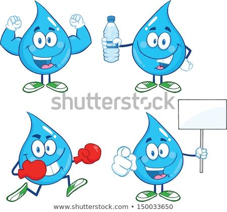 синий капли воды мультфильм талисман характер боксерские перчатки Сток-фото © hittoon