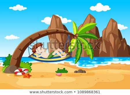 Nino toma palmera ilustración playa sonrisa Foto stock © bluering