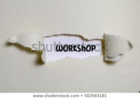 Semineri kâğıt kelime arkasında yırtılmış ambalaj kâğıdı Stok fotoğraf © ivelin