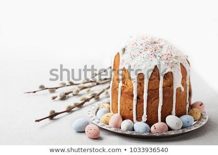 Páscoa ortodoxo doce pão colorido ovos Foto stock © Melnyk