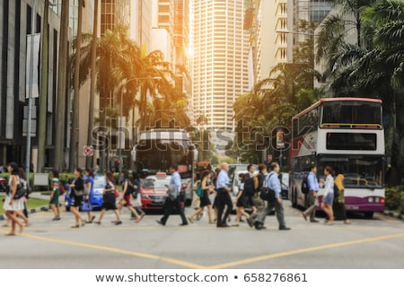 Csúcsforgalom Szingapúr autók mozog gyors emberek Stock fotó © joyr