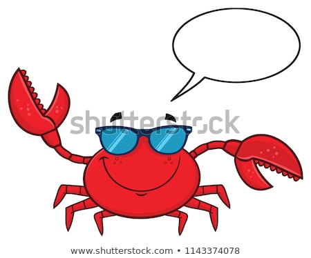 smiling crab cartoon mascot character with sunglasses waving stock photo © hittoon