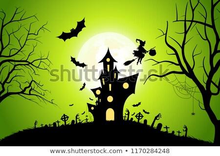 Halloween férias cartão cemitério zumbi mãos Foto stock © WaD